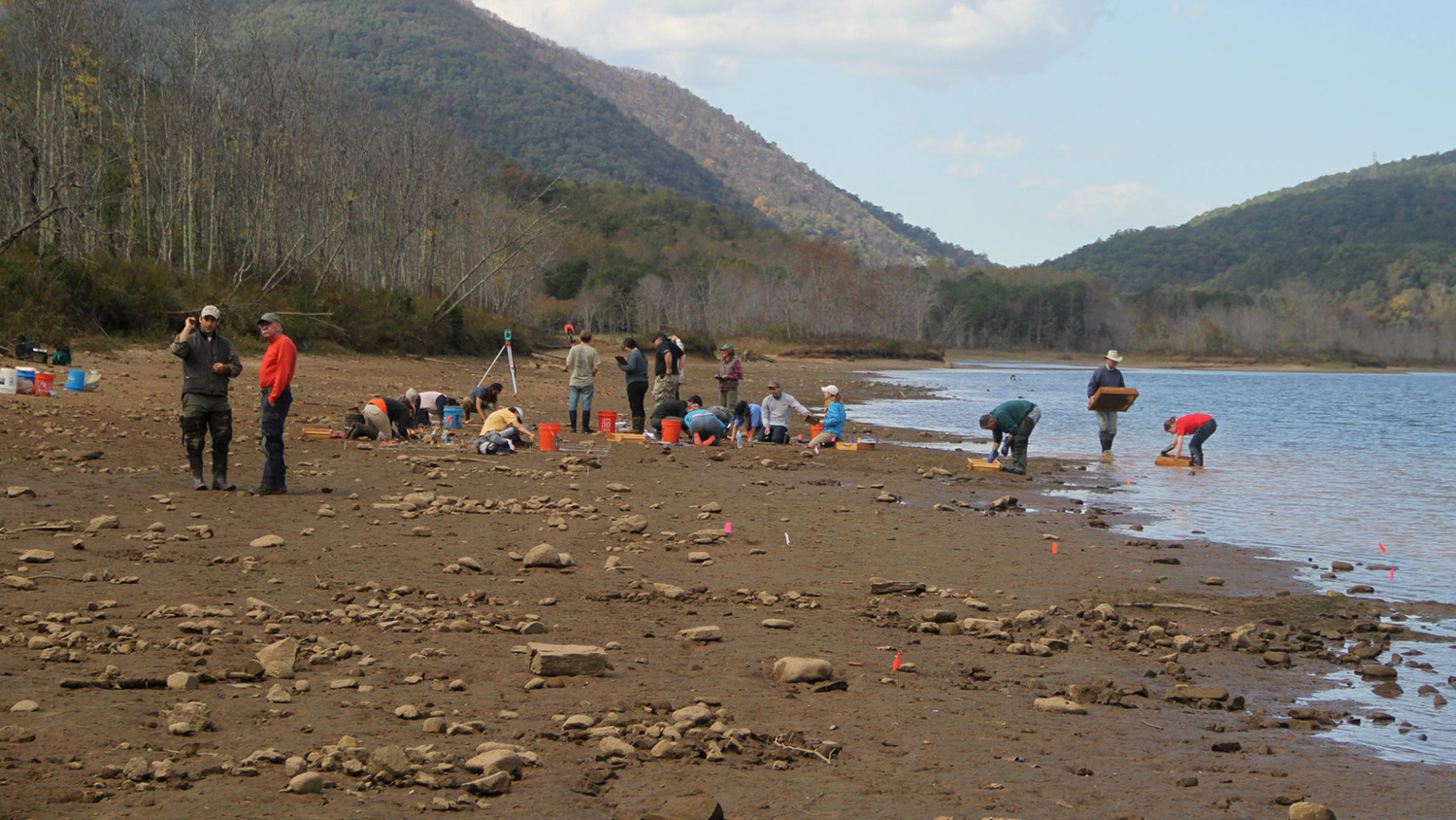 Faculty and students work on an archaeological dig