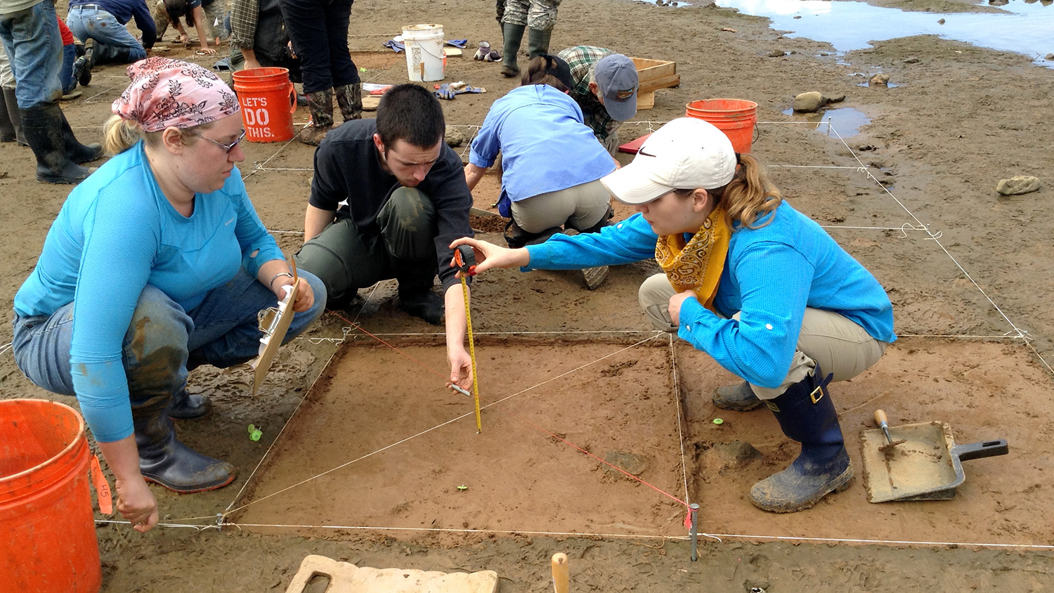 Students participate in an archaeological dig