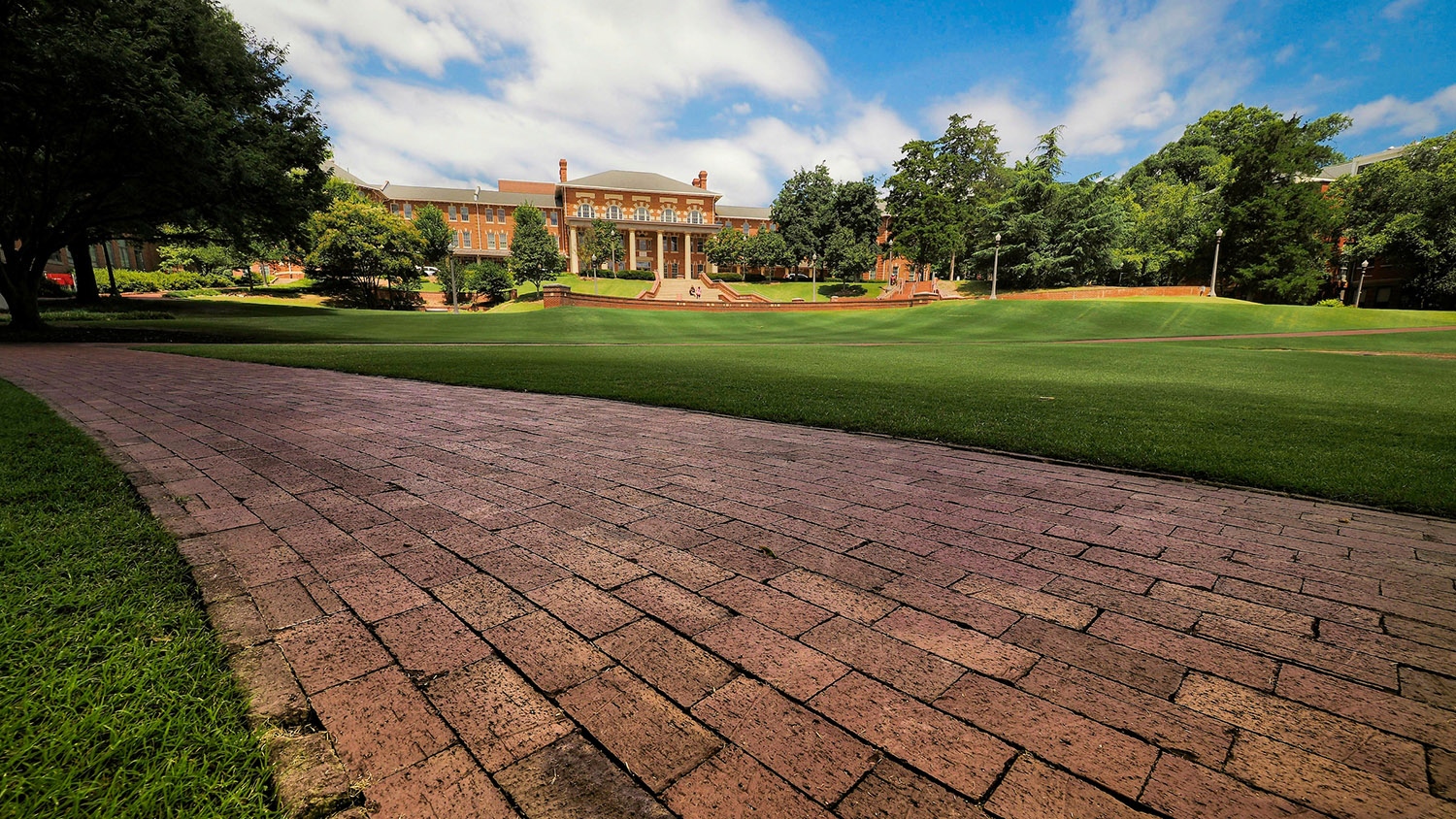 A brick sidewalk/pathway in the middle of the court of North Carolina